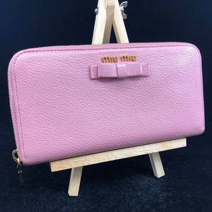 MM002 Miu Miu Leather Zip around wallet with bow